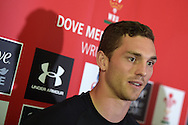 George North of Wales speaks to media at the Wales rugby team press conference at the Vale Resort, Hensol , near Cardiff ,South Wales on Thursday 3rd Sept  2015. The team are preparing for their next RWC warm up match against Italy on the weekend. pic by Andrew Orchard, Andrew Orchard sports photography.