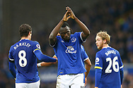Romelu Lukaku of Everton (c) celebrates after scoring his teams 3rd goal. Premier league match, Everton v West Bromwich Albion at Goodison Park in Liverpool, Merseyside on Saturday 11th March 2017.<br /> pic by Chris Stading, Andrew Orchard sports photography.