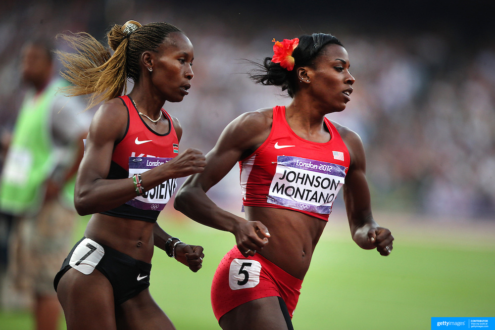 Alysia Johnson Montano, USA, in action in the Women's 800m Semi Final at the Olympic Stadium, Olympic Park, during the London 2012 Olympic games. London, UK. 9th August 2012. Photo Tim Clayton