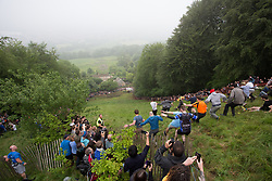 © Licensed to London News Pictures 26/05/2018, brockworth, Gloucester, UK. The annual cheese rolling race held at Coopers Hill, Brockworth outside Gloucester. Competitors race down the extremly steep slippery hill chasing a double Gloucester cheese, the winner of each race recieves the cheese as thier prize. Pictured here :  The start of the first race - Photo Credit : Stephen Shepherd/LNP