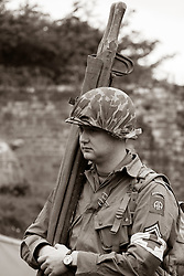 Reneactors portraying members of the US 82nd 'All American'  Airborne Division, taking part in living history displays and Battle re-enactments at Fort Paull Near Hull in May 2019