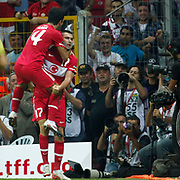 Turkey's Burak YILMAZ (R) celebrate his goal with team mate during their UEFA EURO 2012 Qualifying round Group A soccer match Turkey betwen Kazakhstan at TT Arena Istanbul September 02, 2011. Photo by TURKPIX