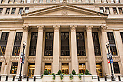 Facade of the Federal Reserve Bank building on LaSalle Street in the Financial District Chicago, IL.
