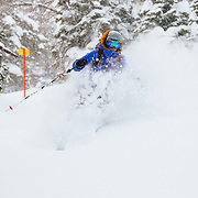 Hadley Hammer skis blower powder in-bounds at Jackson Hole Mountain Resort in Wyoming.
