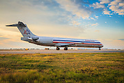 American Airlines McDonnell Douglas MD-83, taxiing at Atlanta's Hartsfield-Jackson International Airport.  <br /> <br /> Created by aviation photographer John Slemp of Aerographs Aviation Photography. Clients include Goodyear Aviation Tires, Phillips 66 Aviation Fuels, Smithsonian Air & Space magazine, and The Lindbergh Foundation.  Specialising in high end commercial aviation photography and the supply of aviation stock photography for advertising, corporate, and editorial use.