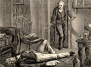 James Young Simpson, having experimented on himself with chloroform, found unconcious on the floor by his butler. Simpson (1811-1870) Scottish obstetrician born at Bathgate, West Lothian, Scotland.   Professor of Midwifery at Edinburgh University. Physician to Queen Victoria. Discovered the anaesthetic properties of chloroform.  Introduced anaesthesia to childbirth. Engraving from 'Heroes of Britain in Peace and War' by Edwin Hodder (London, c1880).