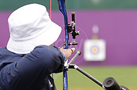 Paralympics London 2012 - ParalympicsGB - Archery Mens Individual Recurve - W1/W2  30th August 2012<br />   <br /> Paul Browne, competing in the mens Archery Individual Recurve - Standing Heats at the Paralympic Games in London. Photo: Richard Washbrooke/ParalympicsGB