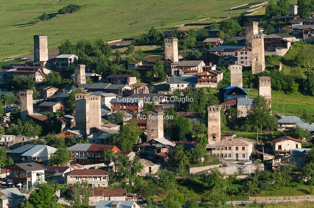 Georgie, région Svanétie, un des quartier de la ville de Mestia // Georgia, Svanezia region, one of the quarters of Mestia town