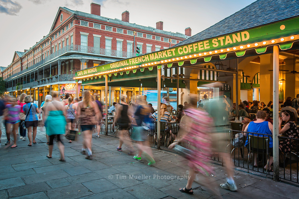 Cafe Du Monde near Jackson Square in the New Orleans' French Quarter is filled with tourist.