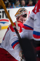 KELOWNA, CANADA - NOVEMBER 9: Maxim Tretiak #20 of Team Russia stands on the ice against the Team WHL on November 9, 2015 during game 1 of the Canada Russia Super Series at Prospera Place in Kelowna, British Columbia, Canada.  (Photo by Marissa Baecker/Western Hockey League)  *** Local Caption *** Maxim Tretiak;