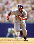 MILWAUKEE - 1988:  Kirby Puckett of the Minnesota Twins runs the bases during an MLB game against the Milwaukee Brewers at County Stadium in Milwaukee, Wisconsin during the 1988 season. (Photo by Ron Vesely) Subject:   Kirby Puckett