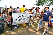Welcome sign for the Excel Energy sand castle competition at Lake Calhoun. Aquatennial Beach Bash Minneapolis Minnesota USA