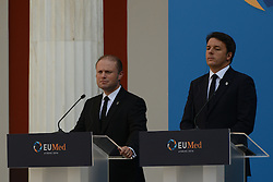 September 9, 2016 - Athens, attika, greece - Joseph Muscat and Matteo Renzi during the EU MED Mediterranean Economies Summit in Athens on September 9, 2016. (Credit Image: © Wassilios Aswestopoulos/NurPhoto via ZUMA Press)