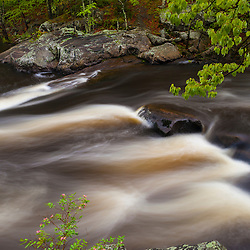 Packers Falls in spring. Lamprey River, Durham, New Hampshire.