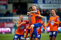 1. divisjon fotball 2018: Aalesund - Tromsdalen. Fredrik Carlsen feirer 2-0 i førstedivisjonskampen i fotball mellom Aalesund og Tromsdalen på Color Line Stadion.