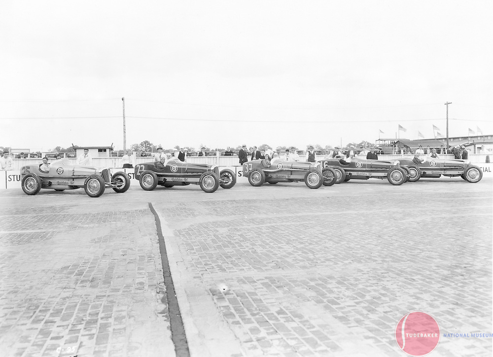 Studebaker's 1932 Indianapolis 500 racing team poses for a publicity shot at the Indianapolis Motor Speedway.