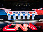 14 JANUARY 2020 - DES MOINES, IOWA:  The debate stage during the media walkthrough before the CNN Democratic Presidential Debate on the campus of Drake University in Des Moines. This is the last debate before the Iowa Caucuses on Feb. 3.    PHOTO BY JACK KURTZ