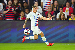 March 21, 2019 - Orlando, Florida, USA - US forward Paul Arriola (7) goes for a ball during an international friendly between the US and Ecuador at Orlando City Stadium on March 21, 2019 in Orlando, Florida. .The US won the game 1-0...©2019 Scott A. Miller. (Credit Image: © Scott A. Miller/ZUMA Wire)