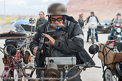 Jeff Erdman of Wisconsin fuels his 1916 Harley-Davidson at the Gap Express gas stop in Cameron, AZ during the Motorcycle Cannonball Race of the Century. Stage-12 ride from Page, AZ to Williams, AZ. USA. Thursday September 22, 2016. Photography ©2016 Michael Lichter.
