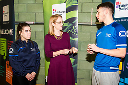 Pictured: The Minster met  Emma Auld and Stephane Murray who are studying Access to Coaching and Sports Development.<br /> <br /> <br /> <br /> Further and Higher Education Minister Shirley-Anne Somerville visited Edinburgh College's Granton campus to view the sport facilities and to announce a new GBP465,000 investment fund for the student sport sector.<br /> <br /> Ger Harley | EEm 8 February 2018