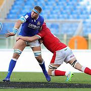 Roma 13/03/2021, Stadio Olimpico<br /> Guinness Six Nations 2021<br /> Italia vs Galles<br /> <br /> Niccolo Cannone in offload sul placcaggio di Cory Hill