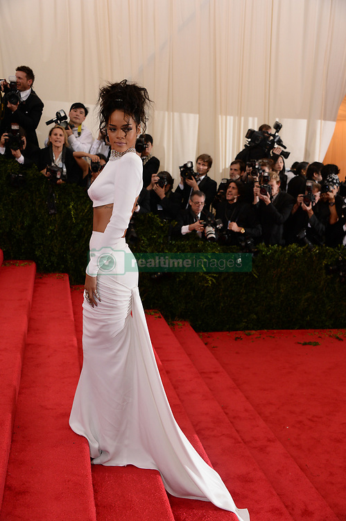 Rihanna attends the 2014 Metropolitan Museum of Art's Costume Institute Benefit Gala celebrating the opening of the exhibition 'Charles James: Beyond Fashion' and the new Anna Wintour Costume Center, in New York City, NY, USA on May 5, 2014. She is wearing a shirt and skirt by Stella McCartney. Photo by Briquet-Douliery/ABACAPRESS.COM    446025_844 New York City Etats-Unis United States