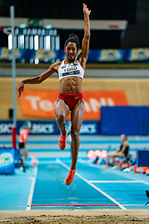 Tara Yoro in action on the long jump during AA Drink Dutch Athletics Championship Indoor on 20 February 2021 in Apeldoorn.