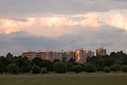 Last light on the Alton Estate, captured from Richmond Park, on 25th June 2016 in South London, United Kingdom. The Alton Estate is a large council estate situated in Roehampton, southwest London. One of the largest public housing estates in the UK, it occupies an extensive area west of Roehampton village. The estate overlooks Richmond Park.