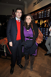 JUSTIN DEACON and SOPHIA BRUDENELL at a party to celebrate the paperback publication of Lucky Break by leading trainer Paul Nicholls held at Thomas Pink, 85 Jermyn Street, London on 23rd February 2011.