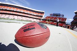 """An Official Wilson NFL """"Duke"""" Leather Football seen on the field before the NFL game between the Philadelphia Eagles and the Cleveland Browns on September 9th 2012 in Cleveland, Ohio. The Eagles won 17-16. This image was taken with a fisheye lens. (Photo by Brian Garfinkel)"""