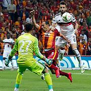 Galatasaray's Umut Bulut (C) and Besiktas's Tomas Sivok (R) during their Turkish Super League derby match Galatasaray between Besiktas at the AliSamiYen Spor Kompleksi TT Arena at Seyrantepe in Istanbul Turkey on Sunday, 24 May 2015. Photo by Aykut AKICI/TURKPIX