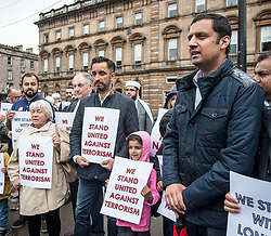 Muslims Stand Against Terrorism held a rally in George Square, Glasgow in condemnation of the terror attacks in Manchester and London. Speakers included Aamar Anwar and MSP's Anas Sarwar and Sandra White (pictured)<br /> <br /> © Dave Johnston/ EEm