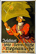 World War I 1914-1918: 'Subscribe to the 4th Austrian War Loan' Austrian poster of 1916 showing 16th century soldier carrying a standard emblazoned with the Austro-Hungarian double-headed eagle.