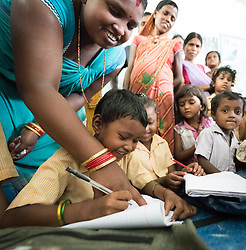 16 September 2018, Sohal Tole, Jahada rural municipality, Nepal: Children practice writing at a school in Sohal Tole. The government-run Adarbhut School in Sohal Tole hosts a total of 143 children from the nearby community. Sohal Tole is a community inhabited by Santal and Dalit (Musahar) people, who find themselves as the very margin of society in Nepal. The 54 households are supported by the Nepal Evangelical Lutheran Church, as they mobilize together on disaster preparedness, income generating activities, financial governance, and mobilization on sanitation, education and entrepreneurship. The community project also receives technical support from the Lutheran World Federation World Service programme.