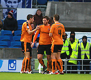 The Wolves team celebrate the opening goal during the Sky Bet Championship match between Brighton and Hove Albion and Wolverhampton Wanderers at the American Express Community Stadium, Brighton and Hove, England on 1 January 2016. Photo by Bennett Dean.