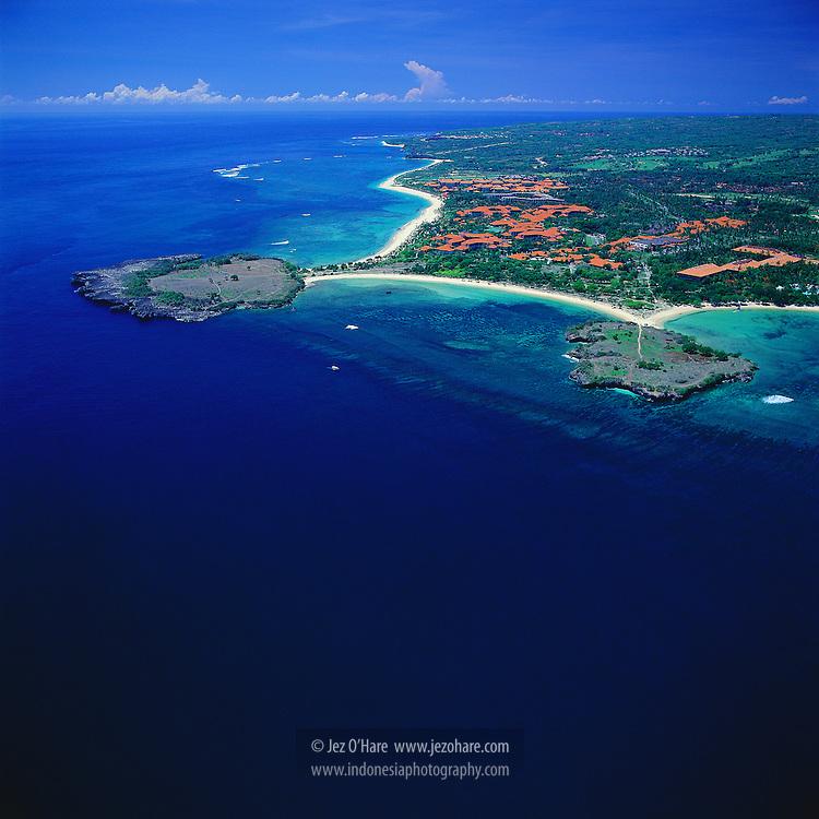 Hotels & resorts of Nusa Dua, Bali, Indonesia.