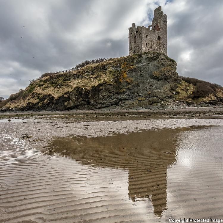 Greenan Castle from Ayr beach, Ayrshire, Scotland.