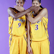 Lisa Leslie (#9) and Candace Parker have fun during a photo shoot in Los Angeles.