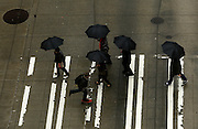 A gaggle of black umbrellas crosses the intersection at 3rd Avenue and Pine Street in downtown Seattle. <br />