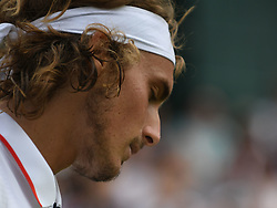 July 9, 2018 - London, England, U.S. - LONDON, ENG - JULY 09: Stefanos Tsitsipas (GRE) downcast after loosing the second set tiebreak during his fourth round match on July 9th 2018 at the Wimbledon Championships, played at the All England Lawn Tennis and Croquet Club in London, England. (Photo by Cynthia Lum/Icon Sportswire (Credit Image: © Cynthia Lum/Icon SMI via ZUMA Press)