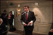 BRIAN SEWELL; SIR TIMOTHY AKROYD, Fortnum and Mason and Quartet books host a celebration for the publication of  The White Umbrella by Brian Sewell. Illustrated by Sally Ann Lasson. Fortnum and Mason. Piccadilly. London. 3 March 2015.