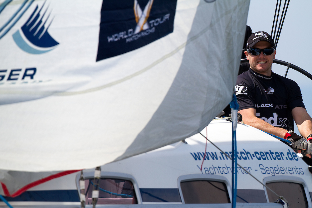 Black Match crew member Tom Powrie traing for Match Race Germany. Match Race Germany. Langenargen, Germany. 19 May 2010. Photo: Gareth Cooke/Subzero Images/WMRT