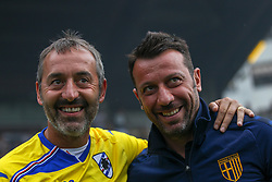 July 28, 2018 - Trento, TN, Italy - Marco Gianpaolo and Roberto D'Aversa during the Pre-Season friendly between Sampdoria and Parma, in Trento on July 28, 2018, Italy  (Credit Image: © Emmanuele Ciancaglini/NurPhoto via ZUMA Press)