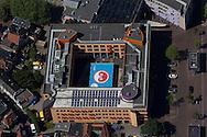 Stadskantoor Gemeente Leeuwarden met het grote spandoek met het logo van Leeuwarden Culturele Hoofdstad 2018. Zie ook http://www.2018.nl/nl/nieuws/ondertussen-culturele-hoofdstad-via-stadskantoor-naar-googlemaps
