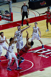 NORMAL, IL - February 27: Josiah Strong falls away from his shot collecting a foul from Austin Phyfe during a college basketball game between the ISU Redbirds and the Northern Iowa Panthers on February 27 2021 at Redbird Arena in Normal, IL. (Photo by Alan Look)
