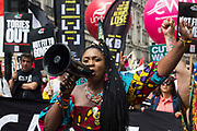 Marvina Newton, founder of United for Black Lives, rallies support as thousands of people attend a United Against The Tories national demonstration organised by the Peoples Assembly Against Austerity in protest against the policies of Prime Minister Boris Johnsons Conservative government on 26th June 2021 in London, United Kingdom. The demonstration contained blocs from organisations and groups including Palestine Solidarity Campaign, Stand Up To Racism, Stop The War Coalition, Extinction Rebellion, Kill The Bill and Black Lives Matter as well as from trade unions Unite and the CWU.