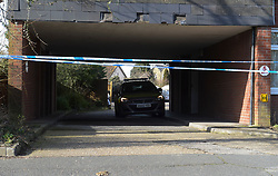 © Licensed to London News Pictures, 16/02/2018. London. UK, Police seal off Garenne Court in Warren Road, Chingford in East London after a 48 year old male was found with fatal knife wounds. Police are questioning a 38 year old female in connection with the murder. Photo credit: Steve Poston/LNP