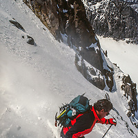 Ski Mountaineer Mike Rufer descends the V-Notch Couloir above the Palisade Glacier in California's Sierra Nevada