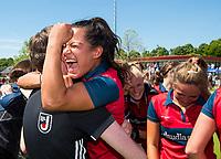 NIJMEGEN -  Vreugde bij Mirte Jansen (Huizen)  na   de tweede play-off wedstrijd dames, Nijmegen-Huizen (1-4), voor promotie naar de hoofdklasse.. Huizen promoveert naar de hoofdklasse.  COPYRIGHT KOEN SUYK