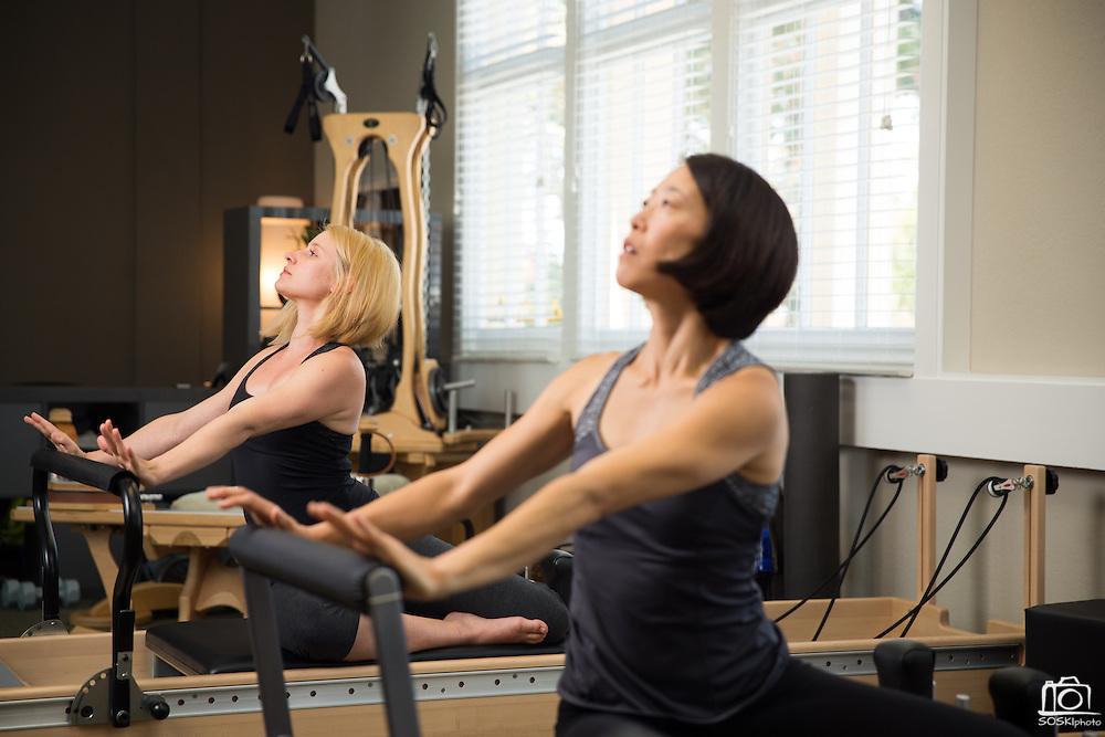 Pilates marketing photos with Lotus Studio owner Liz DeVera in Campbell, California, on August 19, 2014. (Stan Olszewski/SOSKIphoto)